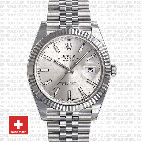 Rolex Datejust 904L Stainless Steel Silver Dial Stick Markers 18k White Gold Fluted Bezel