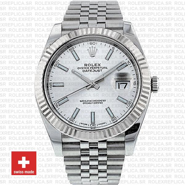 Rolex Datejust 904L Stainless Steel Silver Dial Stick Markers 18k White Gold