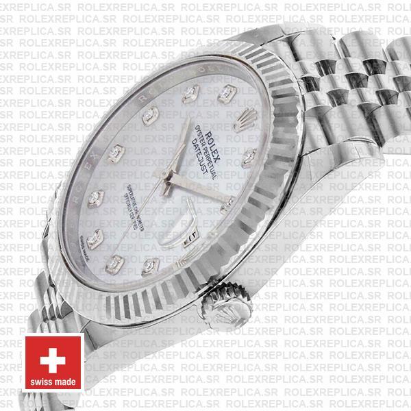 Rolex Datejust 41mm White Diamond Dial Jubilee