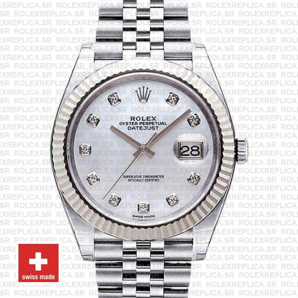 Rolex Datejust 41mm White Diamond Dial Jubilee | RolexReplica