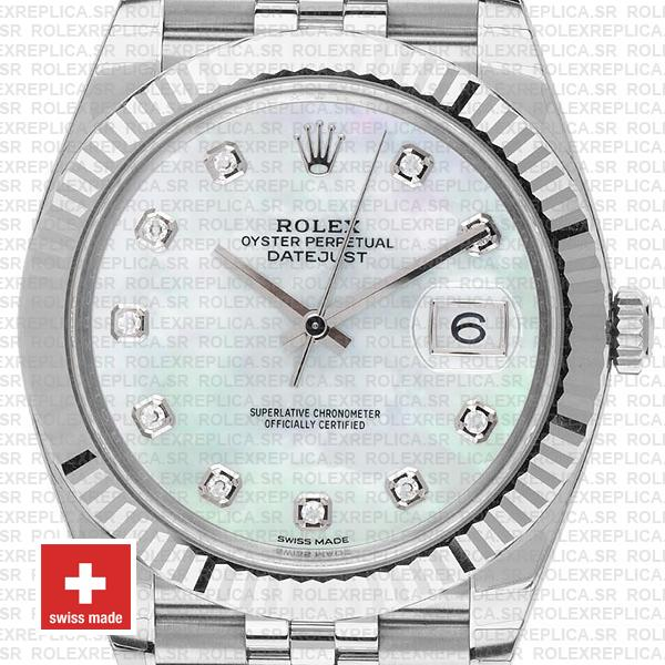 Rolex Datejust 41mm White Diamond Dial Jubilee Replica Watch