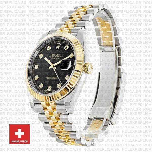 Rolex Datejust Two-Tone 18k Yellow Gold, 904L Steel Fluted Bezel Black Diamond Dial mm