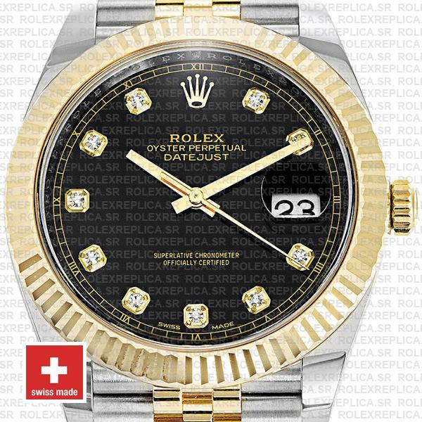 Rolex Datejust Two-Tone 18k Yellow Gold, 904L Steel Fluted Bezel Black Diamond Dial