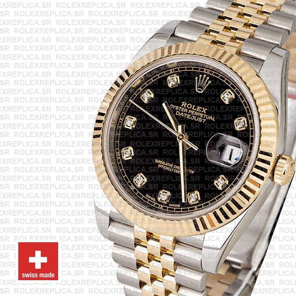 Rolex Datejust Two-Tone 18k Yellow Gold, 904L Steel Fluted Bezel Replica Watch