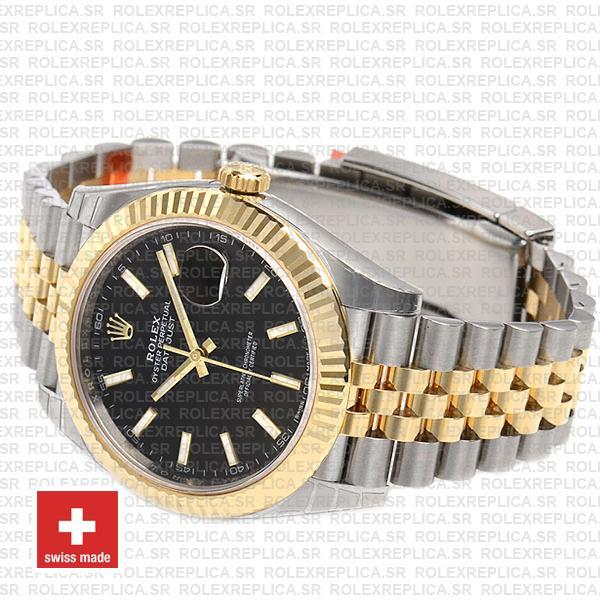 Rolex Datejust Jubilee Bracelet Two-Tone 18k Yellow Gold 904L Stainless Steel Fluted Bezel Black Dial 41mm
