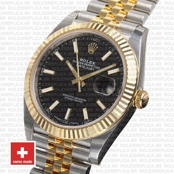 Rolex Datejust Jubilee Bracelet Two-Tone 18k Yellow Gold 904L Stainless Steel Fluted Bezel Black Dail