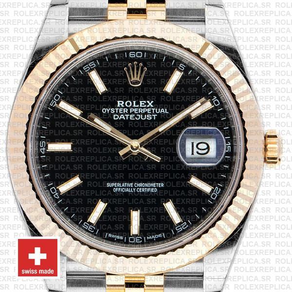 Rolex Datejust 41mm Black Dial Jubilee Bracelet Swiss Replica