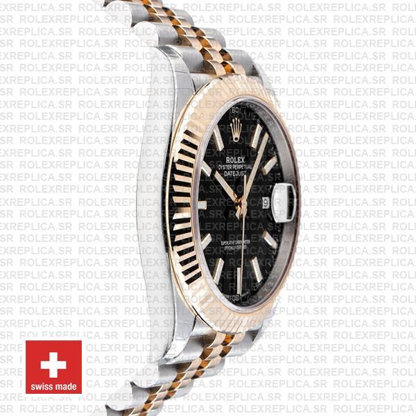 Rolex Datejust 41 Jubilee 2 Tone 18k Yellow Gold Flutted Bezel Black Dial Stick Markers 126333 Swiss Replica