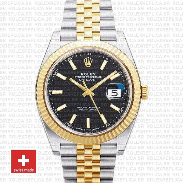 Rolex Datejust 41mm Black Dial Jubilee Bracelet | Replica Watch