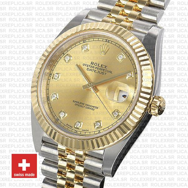 Rolex Datejust 41 Two-Tone Gold Dial Diamonds Jubilee Bracelet