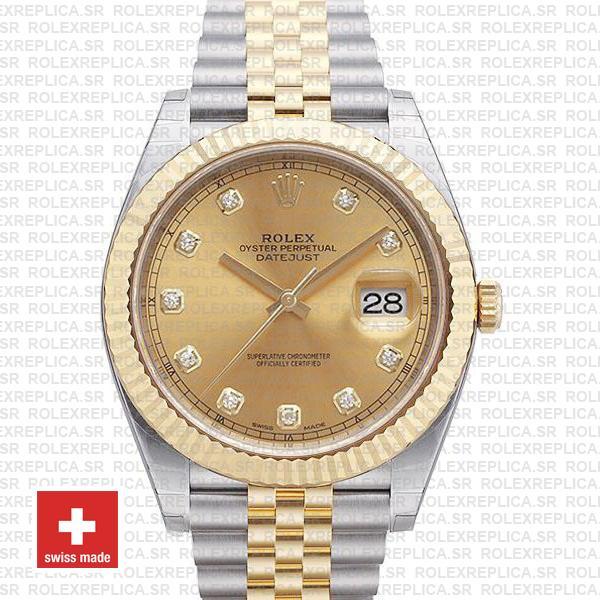 Rolex Datejust 41 Two-Tone Gold Dial Diamonds Jubilee Watch