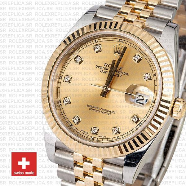 Rolex Datejust 41 Two-Tone Gold Dial Diamonds Jubilee Replica Watch