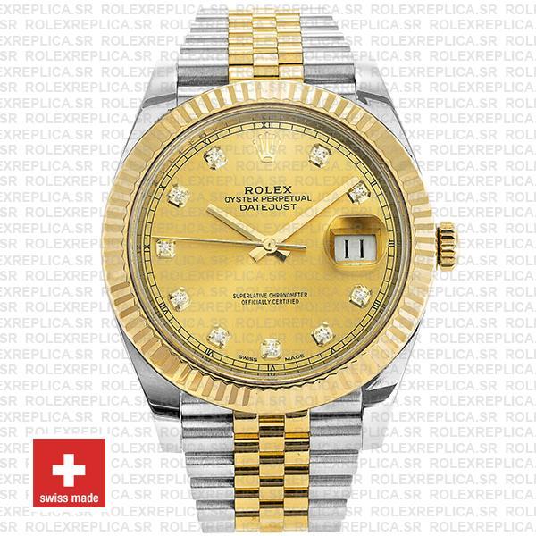 Rolex Datejust Two-Tone Jubilee Bracelet 18k Yellow Gold Fluted Bezel Gold Diamond Dial 41mm