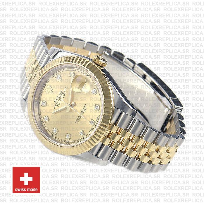 Rolex Datejust Two-Tone Jubilee Bracelet 18k Yellow Gold Fluted Bezel Gold Diamond Dial Replica Watch