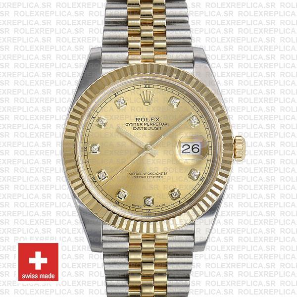 Rolex Datejust 41 Jubilee 2 Tone 18k Yellow Gold Flutted Bezel Gold Dial Diamond Markers 126333 Swiss Replica