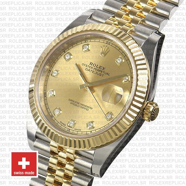 Rolex Datejust Two-Tone Jubilee Bracelet 18k Yellow Gold Fluted Bezel Gold Diamond Dial
