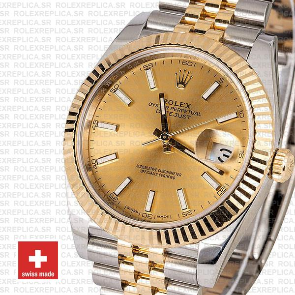 Rolex Datejust 41 Jubilee 2 Tone 18k Yellow Gold Flutted Bezel Gold Dial Stick Markers 126333 Swiss Replica