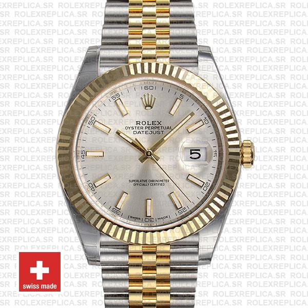 Rolex Datejust 41 Jubilee 2 Tone 18k Yellow Gold Flutted Bezel Silver Dial Stick Markers 126333 Swiss Replica