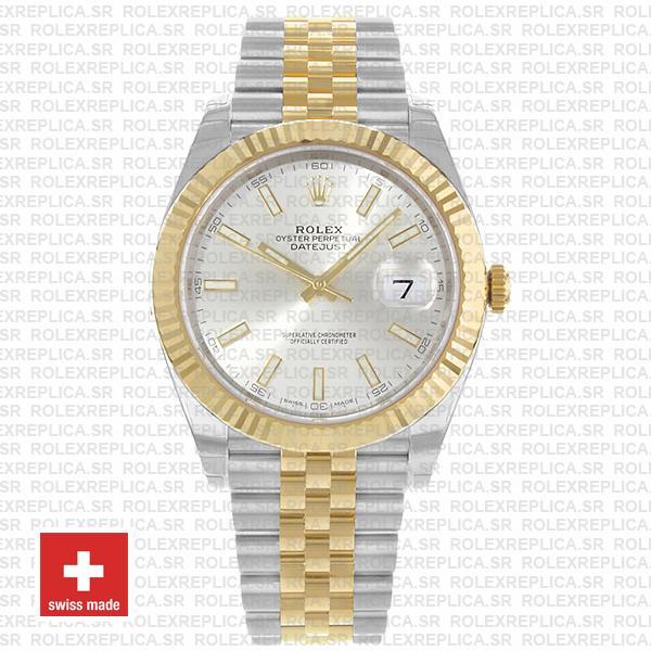Rolex Datejust 41 Jubilee Bracelet Two-Tone 18k Yellow Gold 904L Steel Fluted Bezel Silver Dial