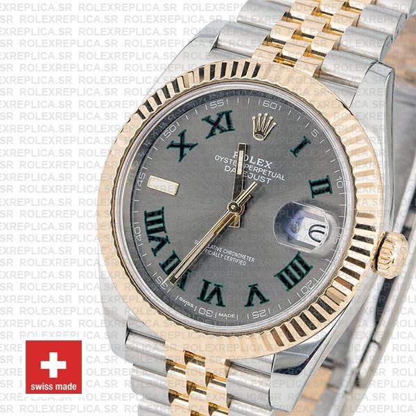 Rolex Datejust Two-Tone Jubilee Grey Dial Roman Swiss Replica