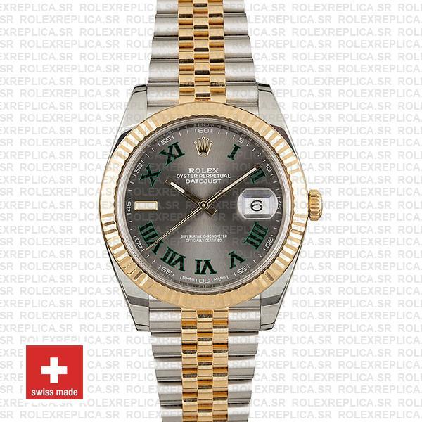 Rolex Datejust Two-Tone Jubilee Grey Dial Roman Swiss Replica Watch