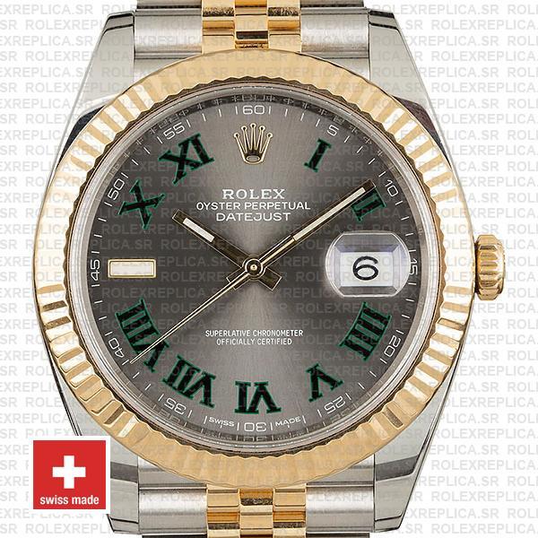 Rolex Datejust Two-Tone Jubilee Grey Dial Roman Replica Watch
