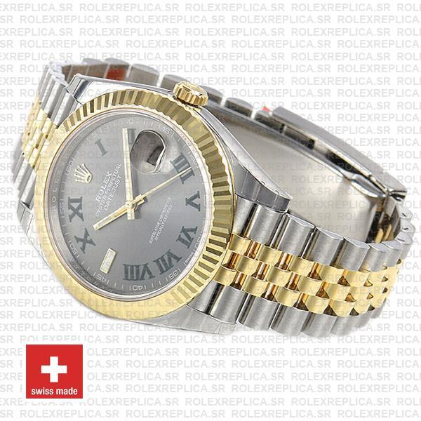 Rolex Datejust 41 Jubilee Two-Tone 18k Yellow Gold Green Roman Dial