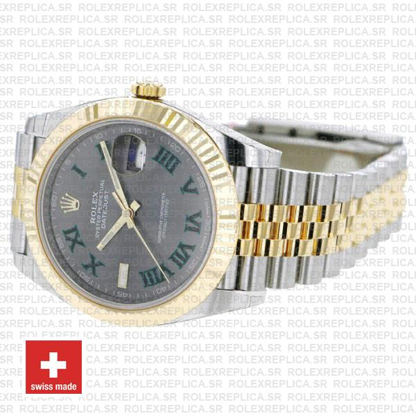Rolex Datejust 41 Jubilee Two-Tone 18k Yellow Gold Green Roman Dial Stainless Steel