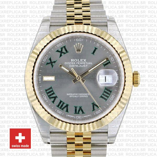 Rolex Datejust 41 Jubilee Two-Tone 18k Yellow Gold Green Roman Dial Stainless Steel Replica Watch