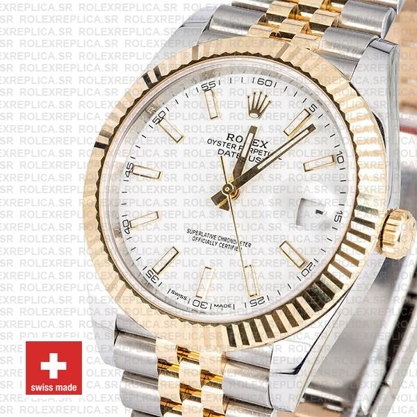 Rolex Datejust 41 Jubilee 2 Tone 18k Yellow Gold Flutted Bezel White Dial Stick Markers 126333 Swiss Replica