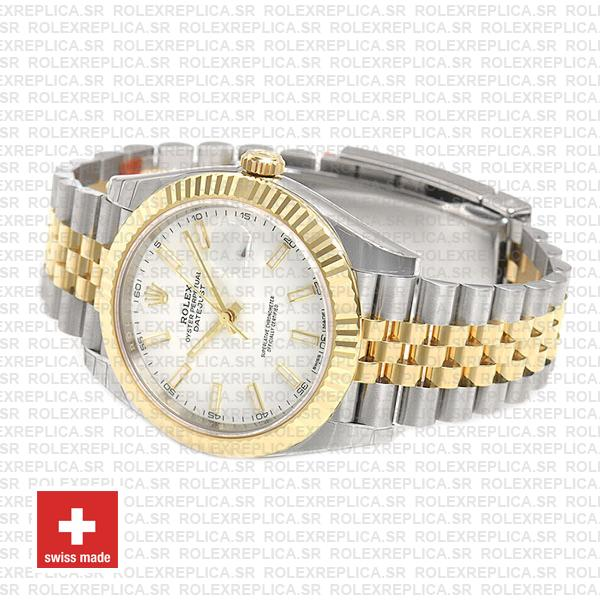 Rolex Datejust Two-Tone White Dial Fluted Bezel Replica