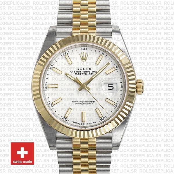 Rolex Datejust Two-Tone White Dial Fluted Bezel Rolex Replica
