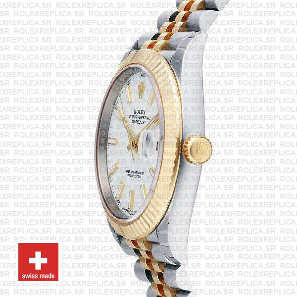 Rolex Datejust Two-Tone White Dial Fluted Bezel Rolex Replica Watch