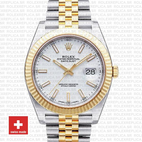 Rolex Datejust Two-Tone White Dial Fluted Bezel Replica Watch