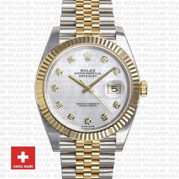 Rolex Datejust 41 Two-Tone White Dial Diamonds Jubilee Watch
