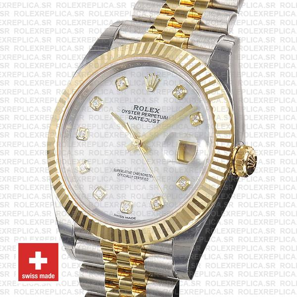 Rolex Datejust 41 Two-Tone White Dial Diamonds Jubilee Replica Watch