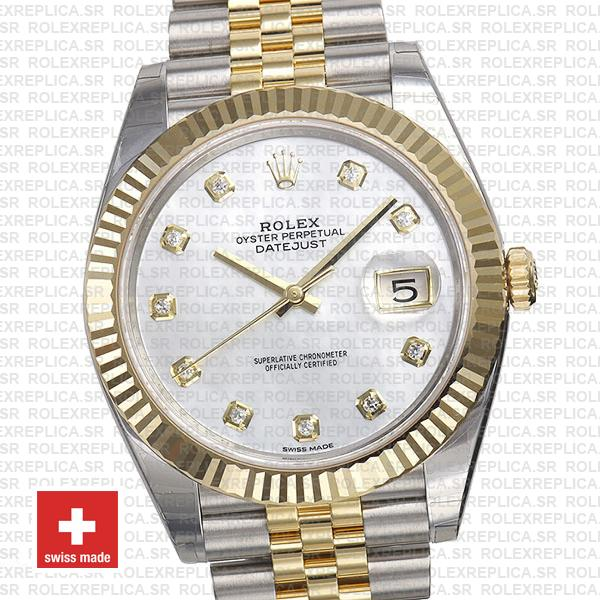 Rolex Datejust 41 Two-Tone White Dial Diamonds Jubilee Swiss Replica Watch