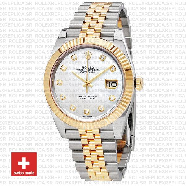 Rolex Datejust 41mm Jubilee Bracelet Two-Tone 18k Yellow Gold Fluted Bezel White Mother of Pearl Diamond Dial