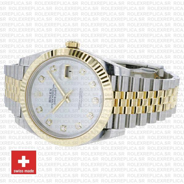 Rolex Datejust 41mm Jubilee Bracelet Two-Tone 18k Yellow Gold Fluted Bezel White Diamond Dial