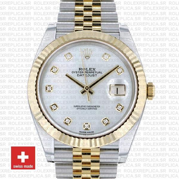 Rolex Datejust 41mm Jubilee Bracelet Two-Tone 18k Yellow Gold Fluted Bezel White Diamonds