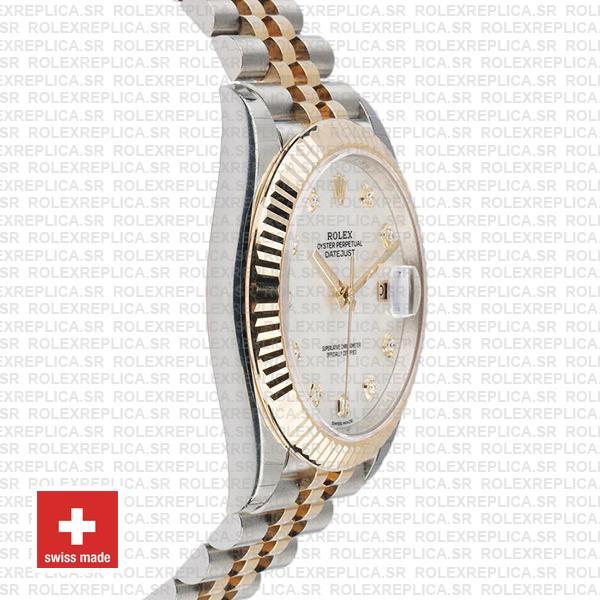 Rolex Datejust 41mm Jubilee Bracelet Two-Tone 18k Yellow Gold Fluted Bezel White Dial