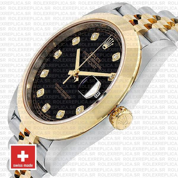 Rolex Datejust 41mm Black Dial Diamonds Jubilee Replica
