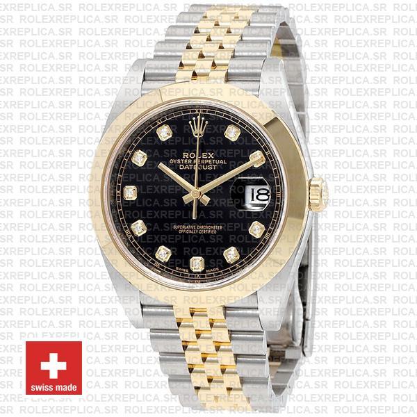 Rolex Datejust 41mm Black Dial Diamonds Jubilee Replica Watch