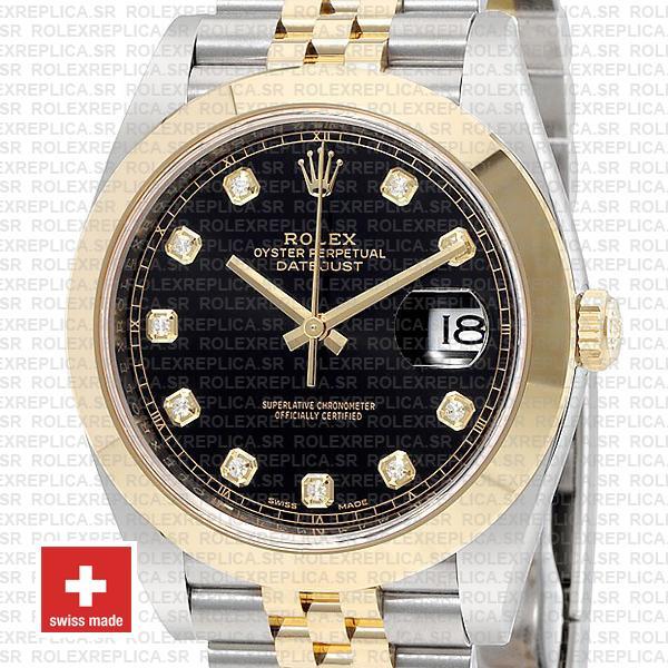 Rolex Datejust 41mm Black Dial Diamonds Jubilee Rolex Replica Watch