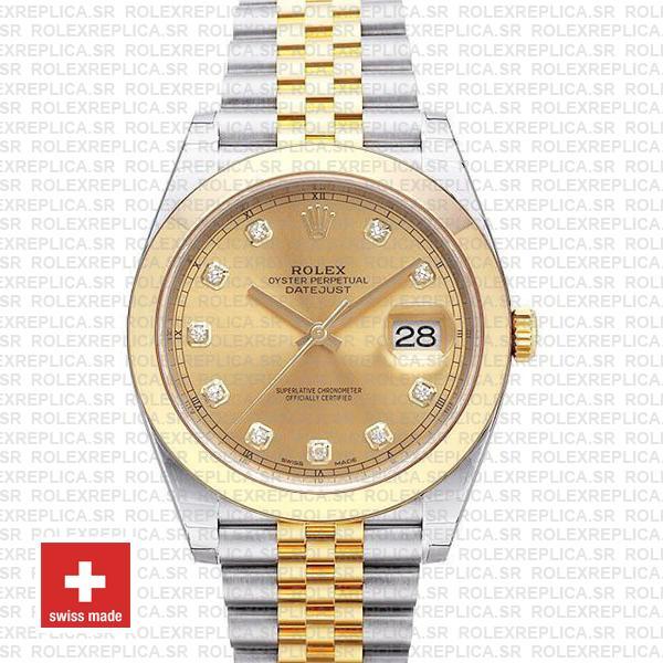 Rolex Datejust Jubilee Gold Diamond Dial Replica Watch