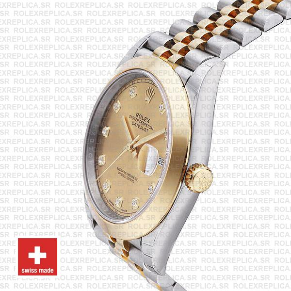 Rolex Datejust 41 Jubilee 2 Tone 18k Yellow Gold Smooth Bezel Gold Dial Diamond Markers 126303 Swiss Replica