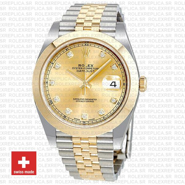 Rolex Datejust 41 Jubilee Two-Tone 18k Yellow Gold 904L Steel Smooth Bezel Gold Dial Diamonds
