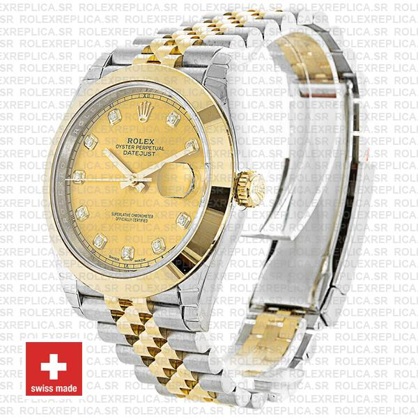 Rolex Datejust 41 Jubilee 2 Tone 18k Yellow Gold Smooth Bezel Gold Dial Diamond Markers 126303 Swiss Replica