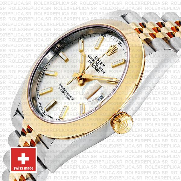 Rolex Datejust 41 Jubilee Two-Tone Stainless Steel 18k Yellow Gold Smooth Bezel Silver Dial Watch