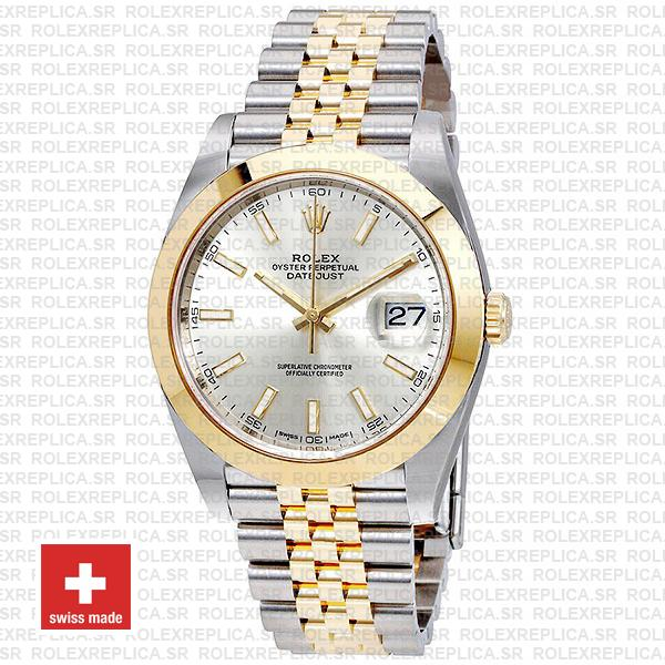 Rolex Datejust 41 Jubilee Two-Tone Stainless Steel 18k Yellow Gold Smooth Bezel Silver Dial